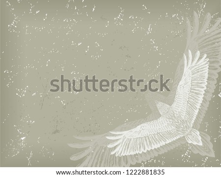 Old Faded Background Animal Pattern Flying Stock Vector Royalty