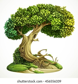 Old fairy ivy-covered deciduous tree on the hill with moss. Detailed vector illustration isolated on white background