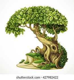Old fairy ivy-covered oak tree on the hill with moss. Detailed vector illustration isolated on white background