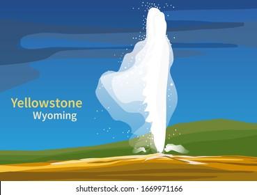 Old Faithful, Yellowstone National Park, Wyoming, United States, vector illustration