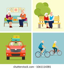 Old family sitting on the couch. Grandfather and grandmother riding a bicycle.  Old family  in nature sitting on bench and Old family is riding in the car. Vector flat style illustration