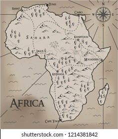 Old, fantasy themed Africa vector map.