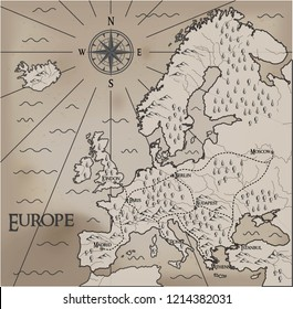Old, fantasy themed Europe vector map.