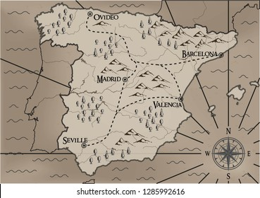 Old, fantasy themed Spain vector map.