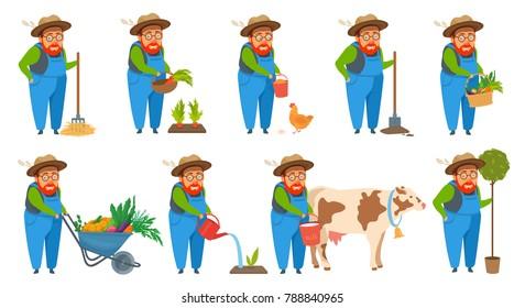 Old farmer cartoon style vector illustration set. Isolated on white. Man holds wicker basket, watering can, shovels, forks, tree seedling, bucket of milk, wheelbarrow harvested crop, feeding chicken.
