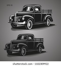 Old farmer pickup truck vector illustration icon. Vintage transport vehicle