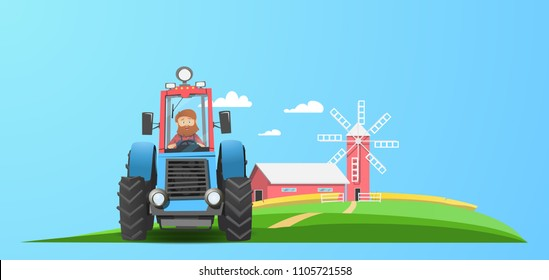 Old farmer with a red beard. Tractor near the farm. A field of wheat. Mill and Barn