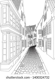 Old fashion alleyway illustration - Vector