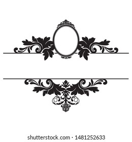old fashion black mirror, vector monogram frame