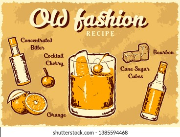 Old fashion bourbon cocktail recipe retro poster. Vector illustration
