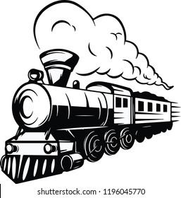 old fashion steam train locomotive engine on railway track with big smoke vector