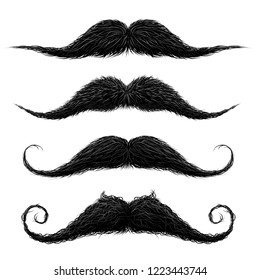 Old fashion upper lip long wax groomed and trimmed fake moustaches set abstract vector illustration