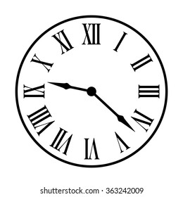 Old fashion vintage clock face line art vector icon for apps and websites