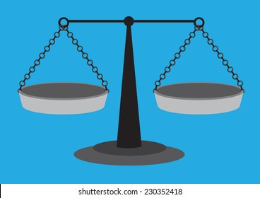 Old fashion weighing scale with equal arm beam and two suspended balancing pans isolated on blue plain background