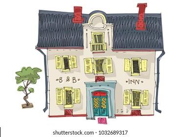 Old fashionable rural hotel. Vintage facade of cute inn. Cartoon