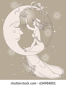 old fashioned in art nouveau style with party woman sitting on moon in starry sky and drinking champagne, can be used for party invitations, vector illustration