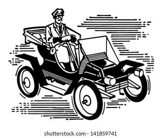 Old Fashioned Car - Retro Clip Art Illustration