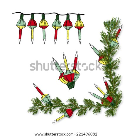 old fashioned christmas decoration bubble light with pine garland corner vector set