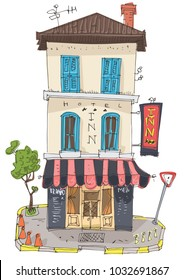 Old fashioned city hotel with cafe at ground floor. Vintage facade of cute inn. Cartoon. Caricature.