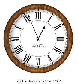 Old Fashioned Clock. Retro Old Timer clock in wooden frame. Vector illustration.