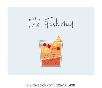 Old fashioned cocktail with oranges and cherry