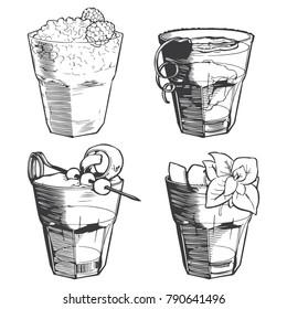 Old fashioned cocktails set