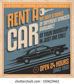 Old fashioned comics style rent a car poster design. Vintage vector template on old paper texture.