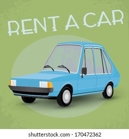 Old fashioned comics style rent a car poster