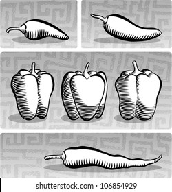 Old fashioned etched style illustration of various chili peppers, in black and white.