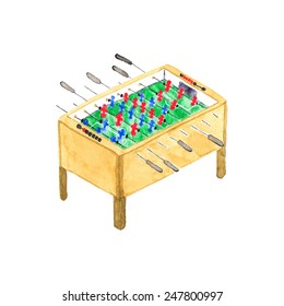Old fashioned foosball or kicker table. Watercolor object on the white background, aquarelle. Vector illustration. Hand-drawn decorative element useful for invitations, scrapbooking, design.