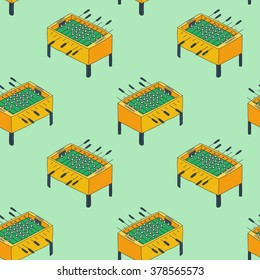 Old fashioned foosball or kicker table. Seamless pattern with hand-drawn cartoon icon. Doodle drawing. Vector illustration - swatch inside
