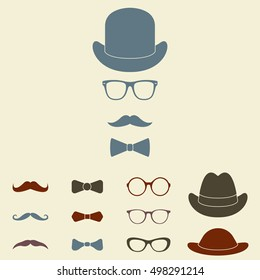 Old fashioned gentleman accessories icon set. Glasses, hat, mustache and bowtie. Vintage or hipster style. Vector illustration.