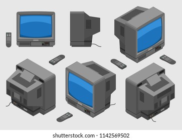 Old fashioned gray TV with remote control; Isometric television set with blue screen shown from different sides flat design;