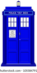 An old fashioned police telephone box isolated on a white background