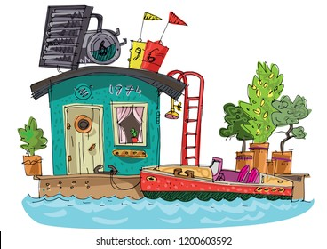 Old fashioned residential boathouse with a motor boat parked beside it. Ecological supplied habitable floating house.