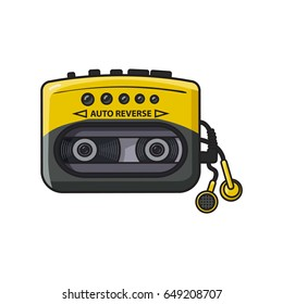 Old fashioned, retro black and yellow audio player, walkman from 90s, sketch vector illustration isolated on white background. Front view of hand drawn audio player, walkman with ear buds, head phones