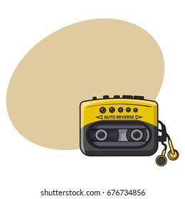 Old fashioned, retro black and yellow audio player, walkman from 90s, sketch vector illustration with space for text. Front view of hand drawn audio player, walkman with ear buds, head phones