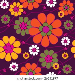 Old fashioned seamless background with flowers
