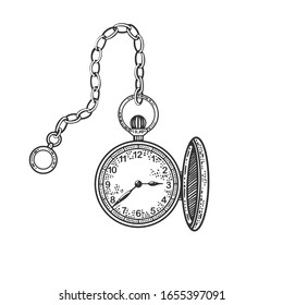 Old fashioned vintage clock watch engraving vector illustration. T-shirt apparel print design. Scratch board imitation. Black and white hand drawn image.