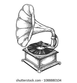 Old fashioned vintage gramophone phonograph engraving vector illustration. Scratch board style imitation. Black and white hand drawn image.