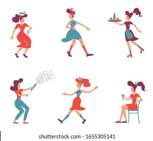 Old fashioned women flat color vector faceless characters set. Roller waitress, lady with confetti popper. Stylish girls in retro clothing isolated cartoon illustrations on white background