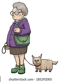 Old fat lady with a tiny dog, cartoon character, vector illustration