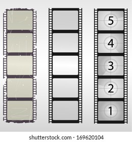 Old film. Blank film. Film countdown numbers. Vector illustration.