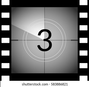 Old film movie countdown frame. Old vintage retro cinema vector timer count.