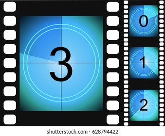 Old film movie countdown frame. vintage retro cinema vector timer count.
