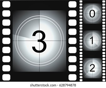 Old film movie countdown frame. vintage retro cinema vector timer count.
