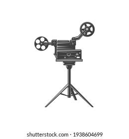 Old film projector isolated retro camera with reels monochrome icon. Vector retro movie camera on tripod, vintage motion picture symbol. Retro photocamera, film making machine, cinematography cam