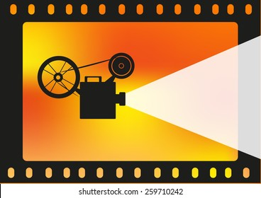 Old Film Projector on a Film and film burn. Concept for Film Industry or School for Filmmaking, Production, Video Editing and Cinematography, Convention etc. Editable Vector EPS10.