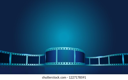 Old film strip frame on the blue background. Vector cinema festival poster, banner or flyer background. Art design reel cinema filmstrip template. Movie time and entertainment concept. EPS 10
