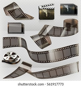 Old film strip with transparency, 3d vector icon set